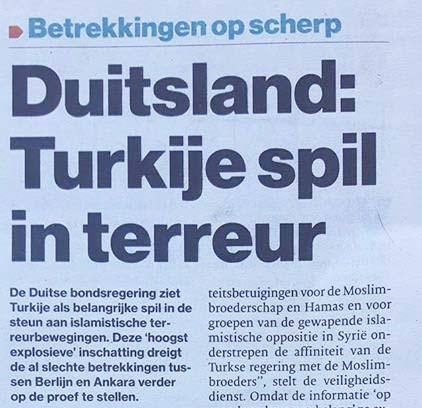Duitse woordvoerder 'Turkse steun terreurgroepen' is leugen 2