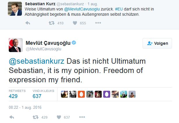 Turkse minister corrigeert Oostenrijkse collega 'Vrijheid van meningsuiting, vriend'