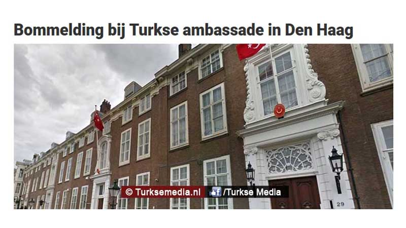 Leugen g n bommelding bij turkse ambassade in den haag for Turkse reisbureau den haag